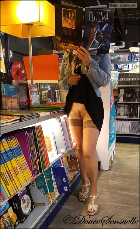 Pantyless at book store: stockings and hairy cunt upskirt pussy flash public flashing no panties flashing store