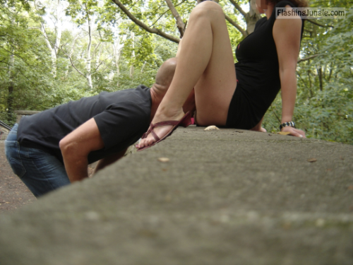 Stranger is licking my cunt in public park public sex