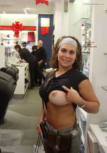 Boobs out At the copy store milf pics flashing store boobs flash