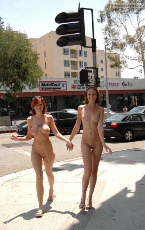 Tattooed redhead with big tits and slim brunette with small public nudity