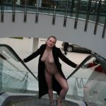 Naughty Paris: Walking toward camera pantyless