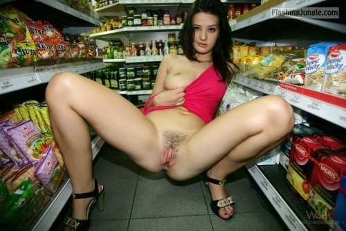 Hairy cunt and juicy boobs: Anna Tatu pantieless at supermarket pussy flash public nudity public flashing no panties flashing store boobs flash bitch