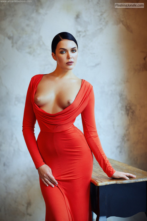 Luxury Red Evening Dress With Too Big Decolletage Boobs -8946