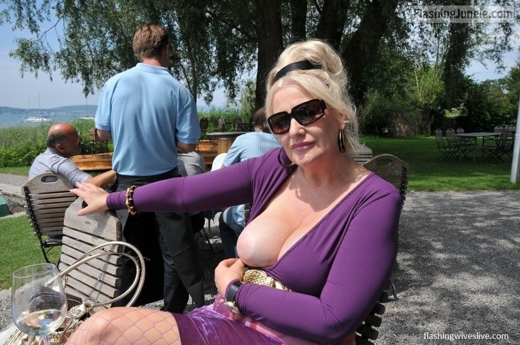 Flashing Jungle - Hotwife flashing boob in public