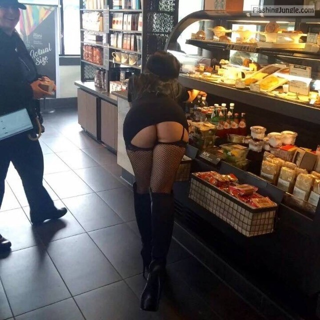 Bent over ass flashing in store   black fishnets and mini skirt upskirt public flashing no panties flashing store ass flash