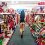 Petite GF flashing bubble ass in toy store