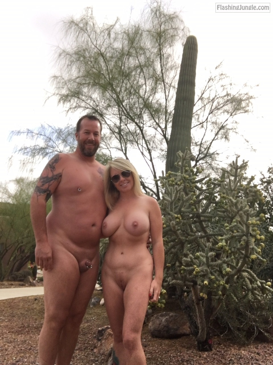 Husband and nude wife