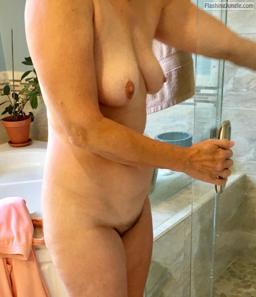 Naked hotwife in bathroom hairy pussy and saggy tits real nudity milf pics howife