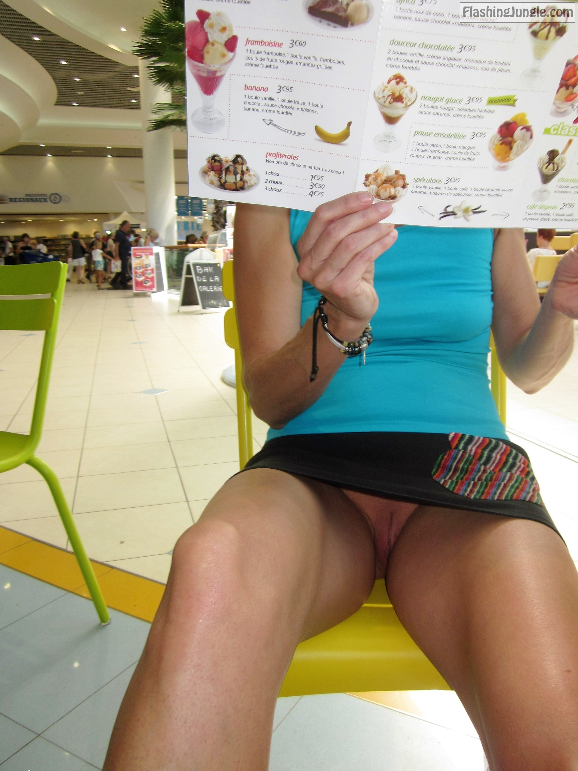 Flashing at the mall - pantyless upskirt