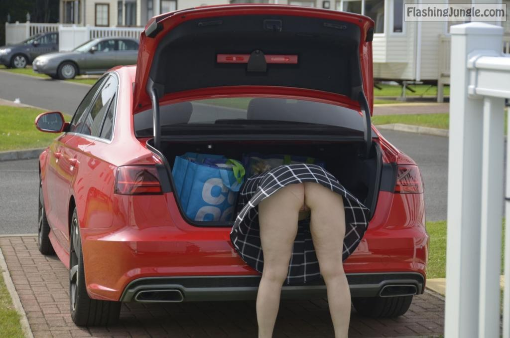 Pantyless wife bent over the car boot upskirt real nudity public flashing no panties milf pics howife ass flash