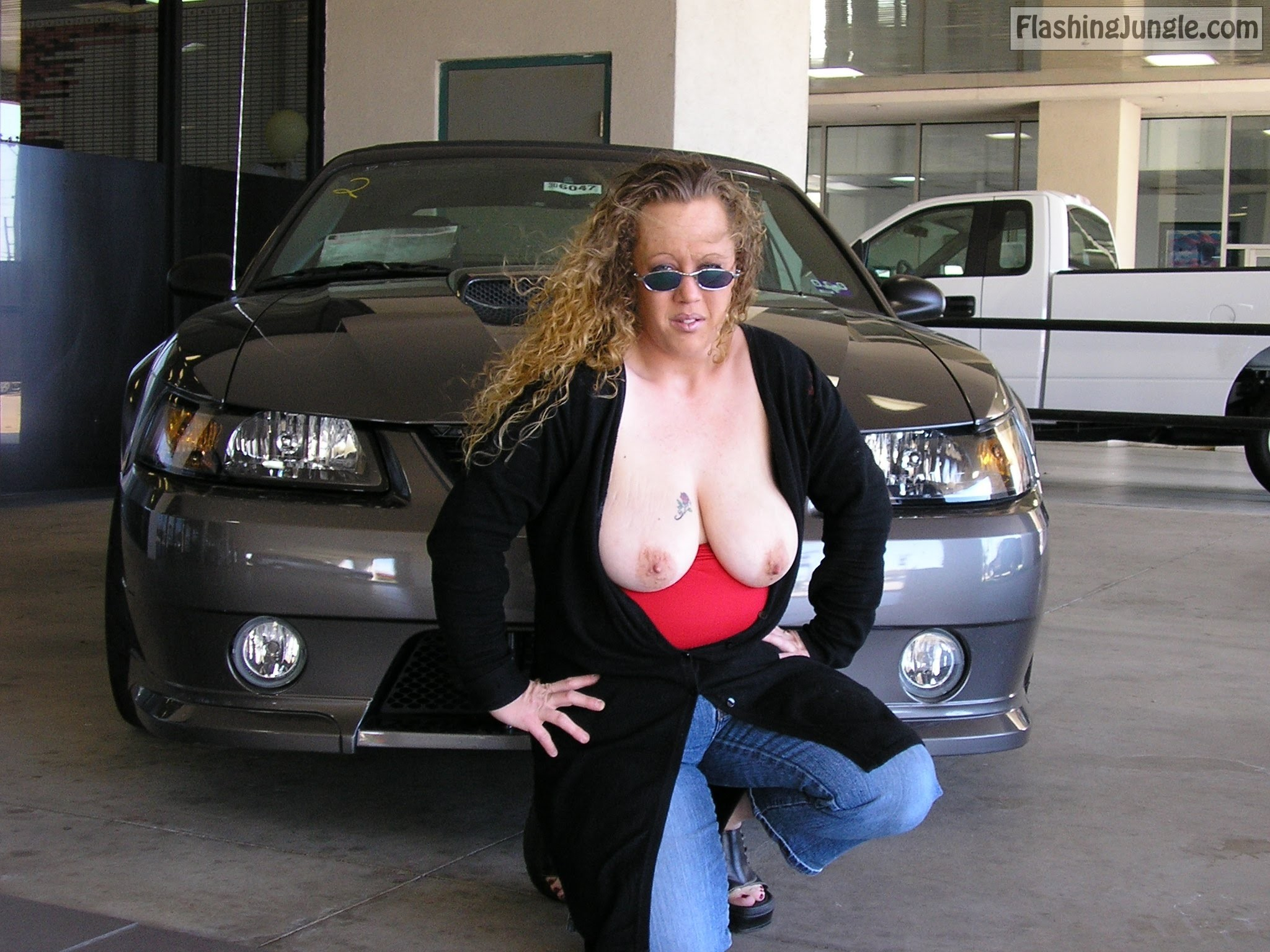Flashing at the Ford Dealer real nudity public flashing milf pics boobs flash