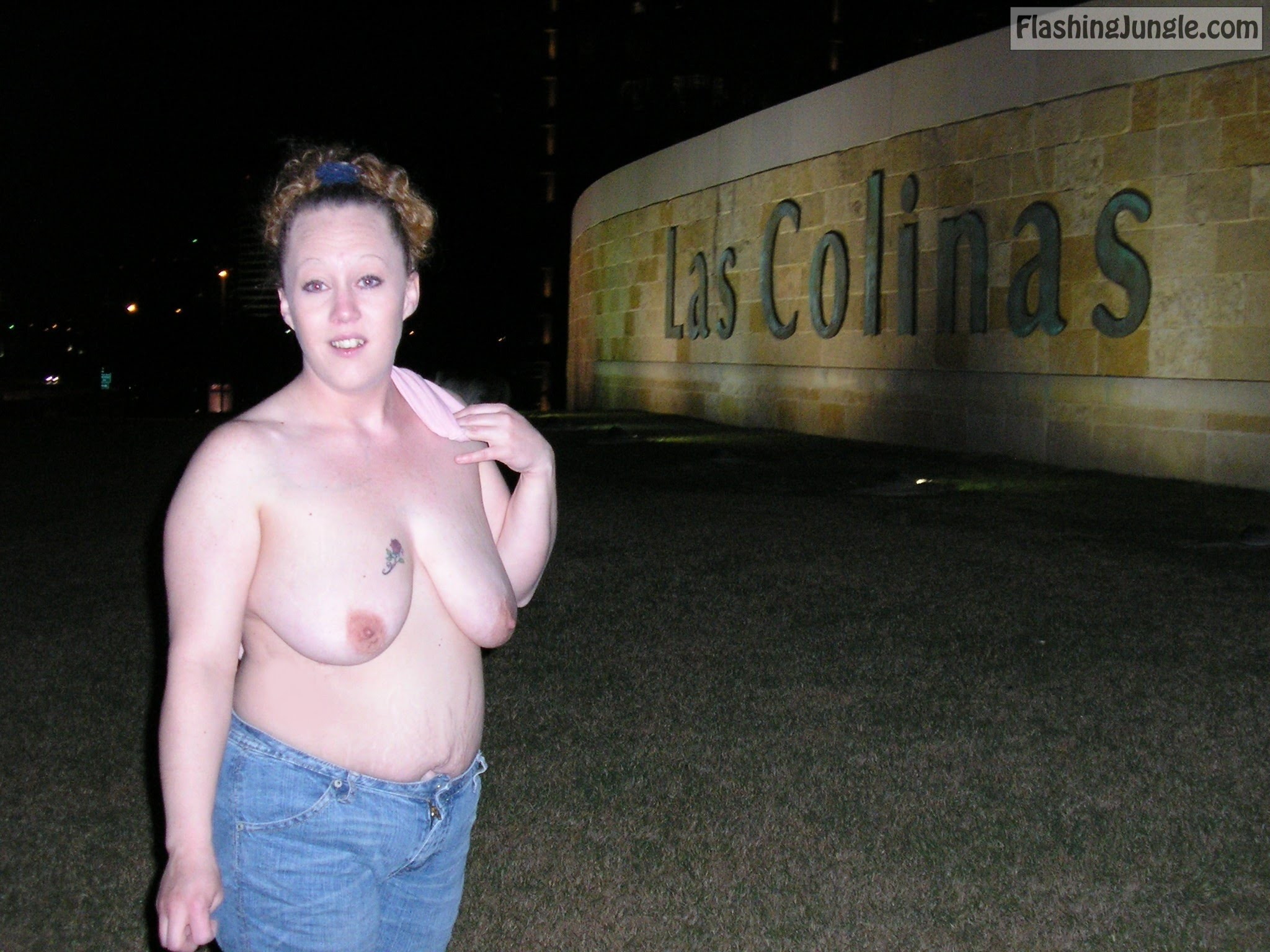 Topless Flashing by highway Las Colinas