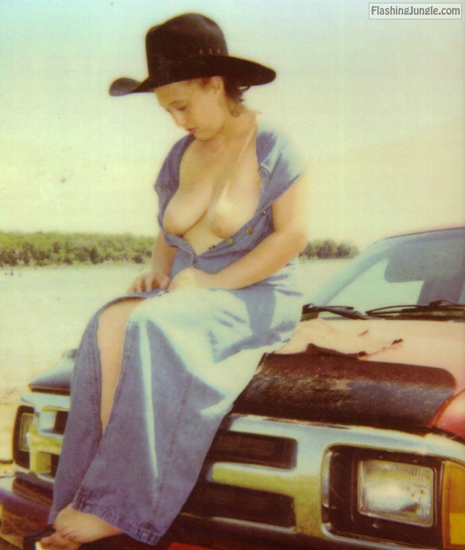 Braless CowGirl flashing titties