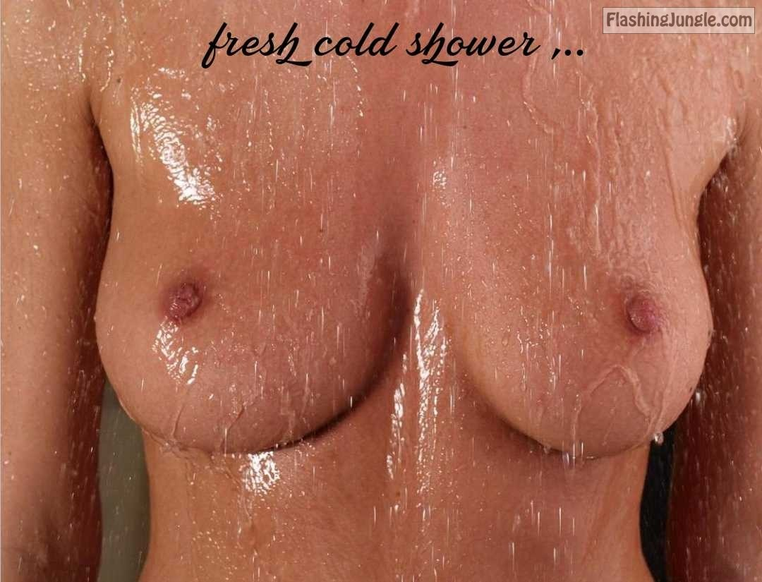 Firm boobs under fresh cold shower real nudity boobs flash
