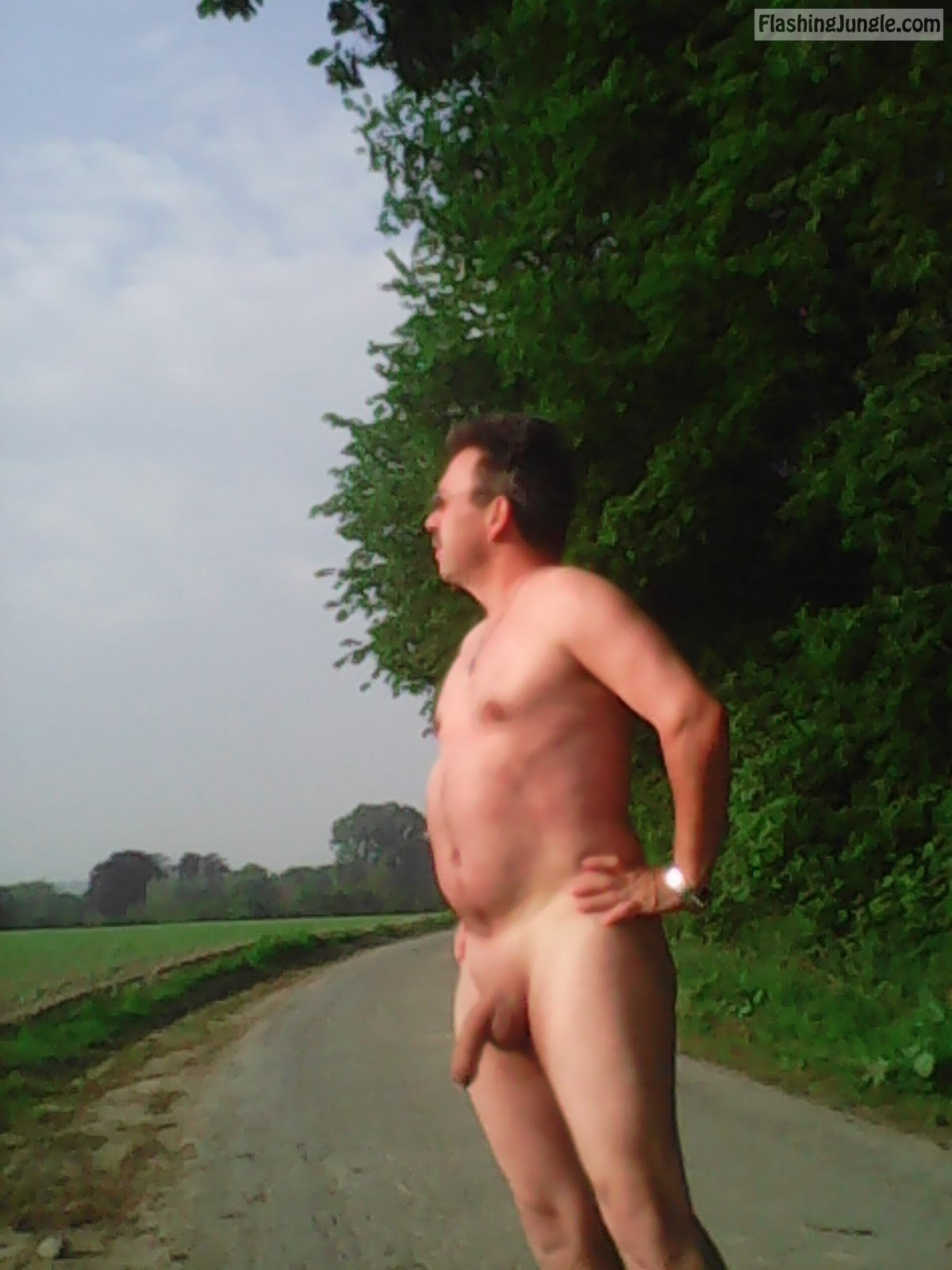 Mature man flashing long dick on the road real nudity dick flash