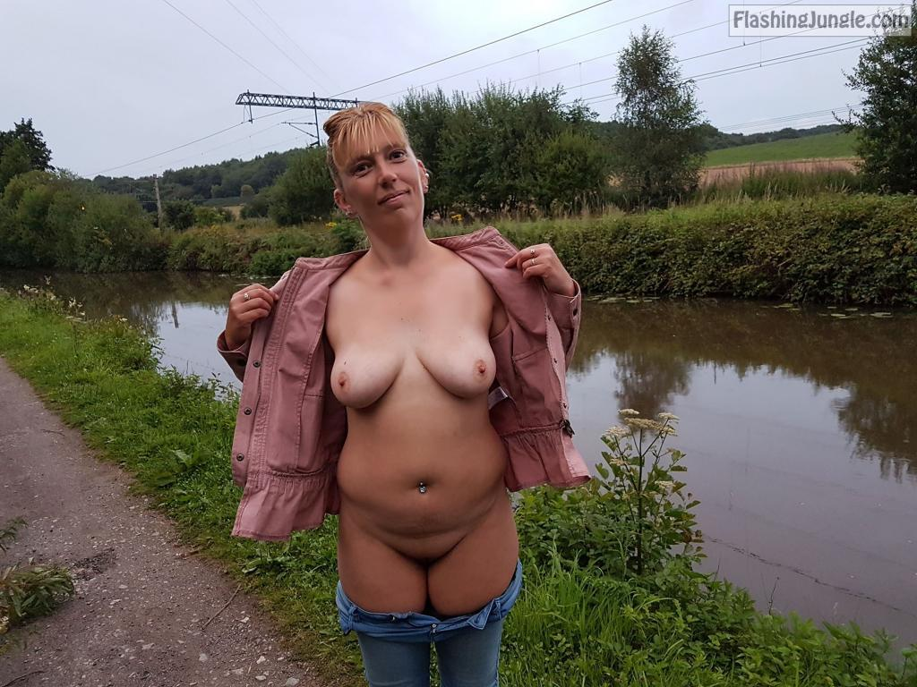 Almost nude by the river pussy flash public flashing no panties milf pics howife boobs flash