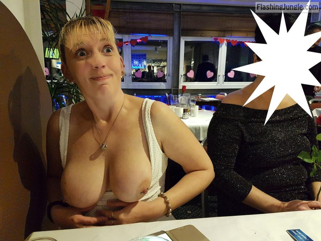 Flashing tits for friends husband in restaurant KittyD public flashing milf pics howife boobs flash