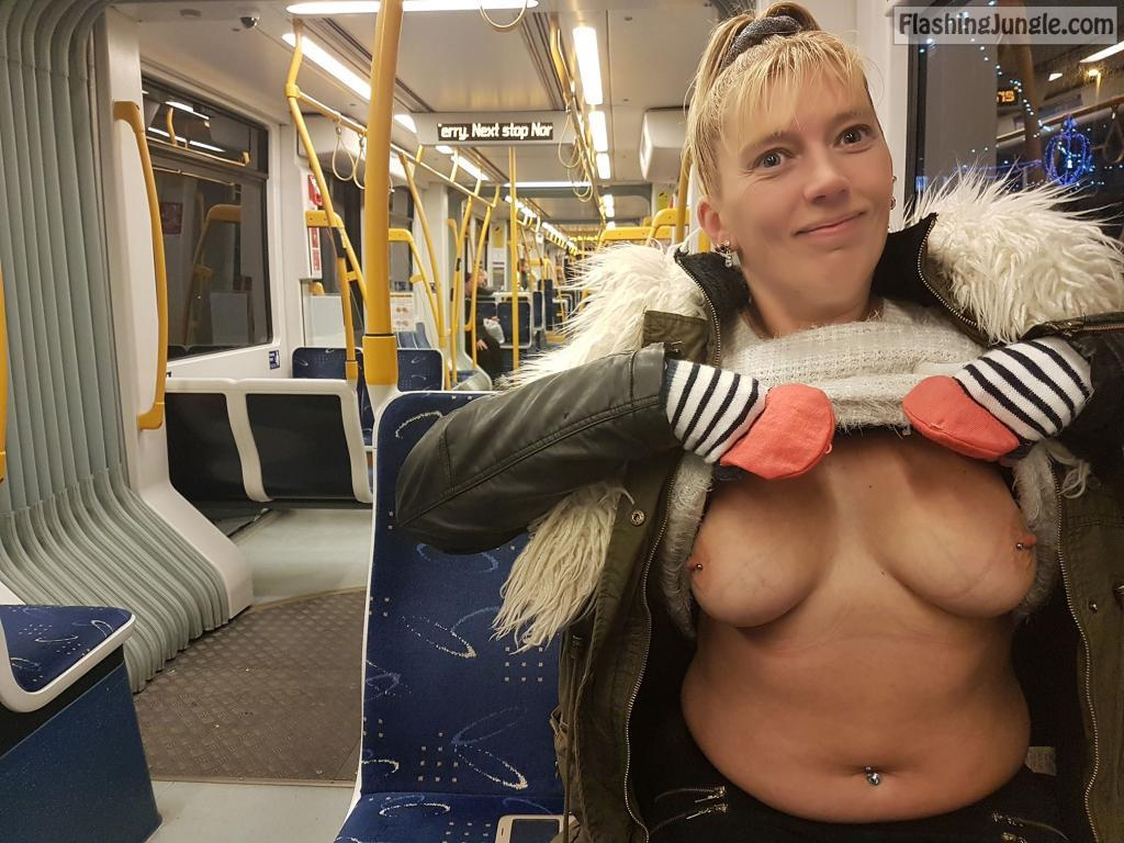 My pierced boobies in public train public flashing milf pics boobs flash
