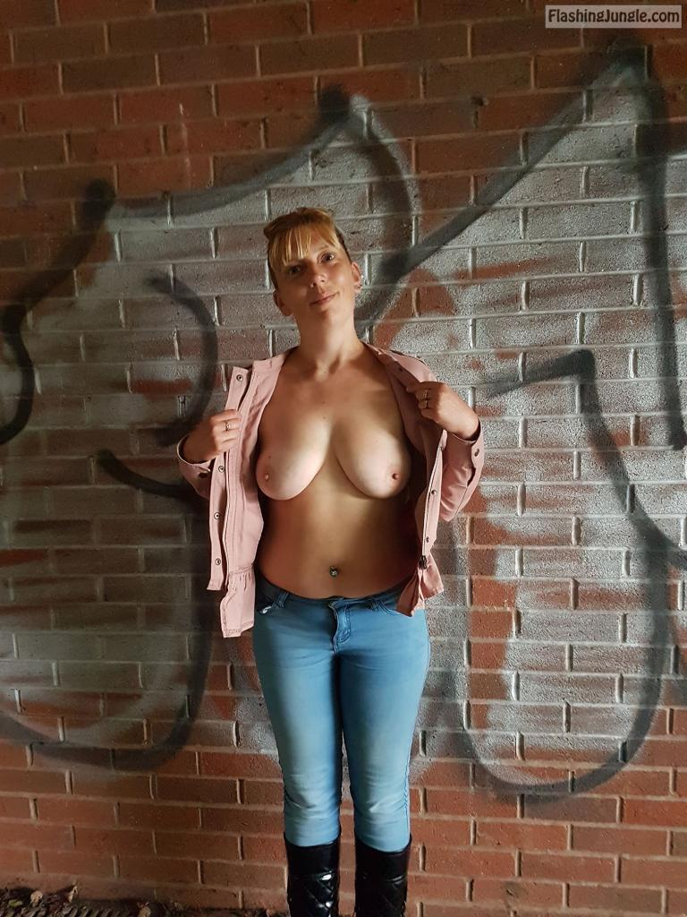 Open front bare tits in passage boobs flash