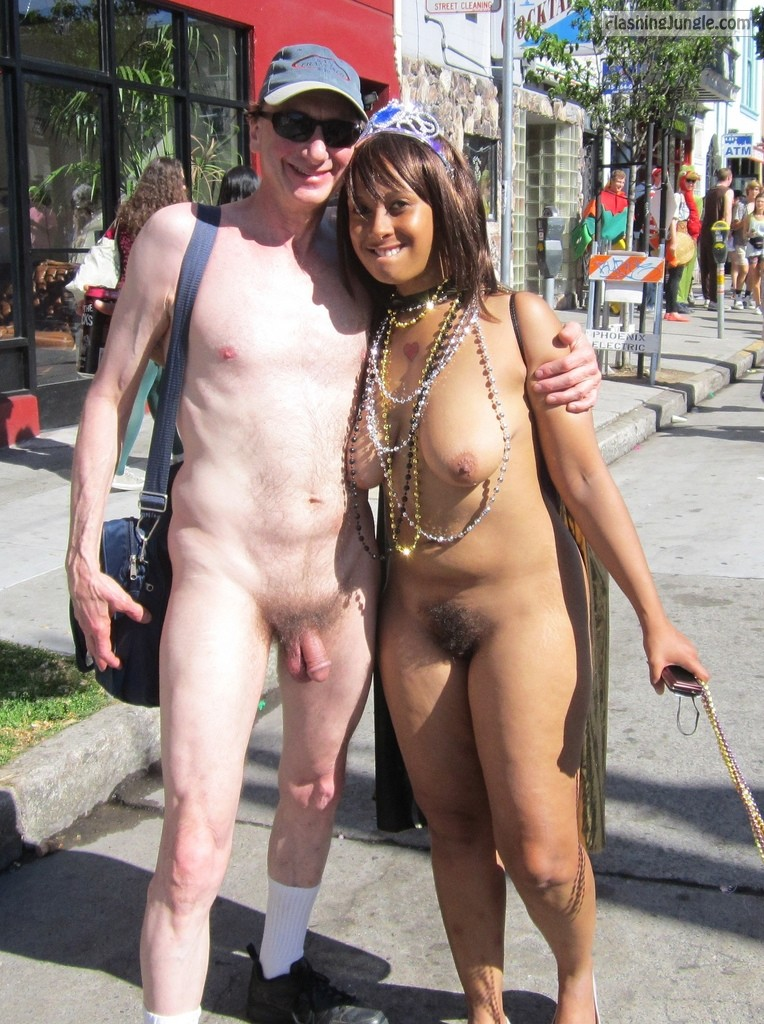 Naked Couple in public, Bay to Breakers, Exhibitionist Brucie real nudity