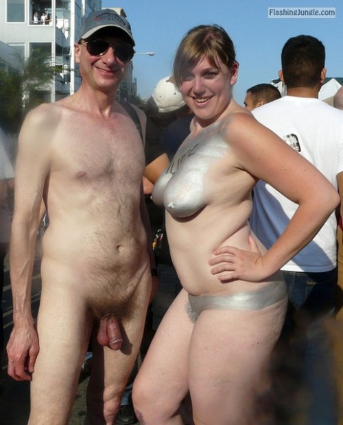 Naked Couple in public, Folsom Street Fair, Exhibitionist Brucie
