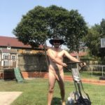 Mowing day – Aussie nude in backyard