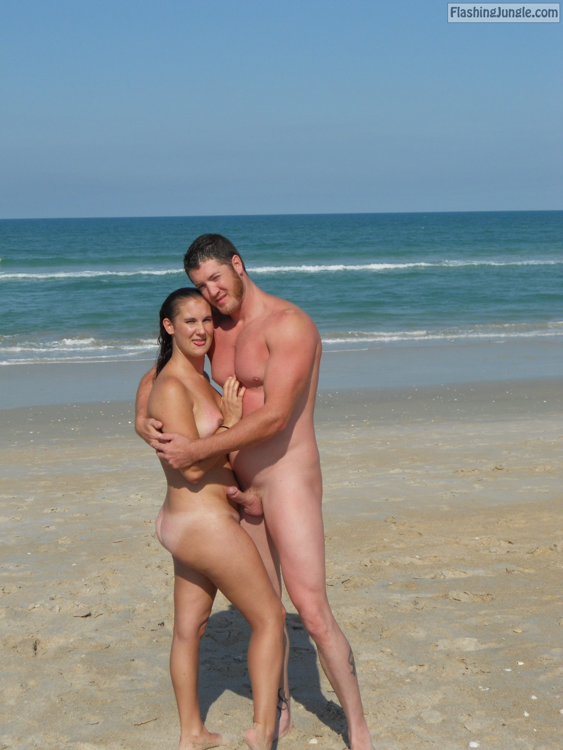 Beach boner amateur couple