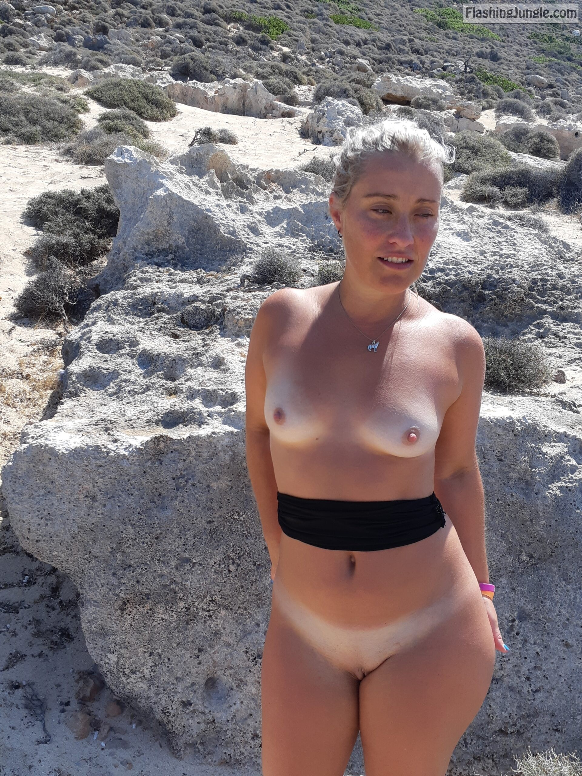Topless and Bottomless Blonde Flashing Tan Lines on Beach real nudity public flashing nude beach no panties howife boobs flash