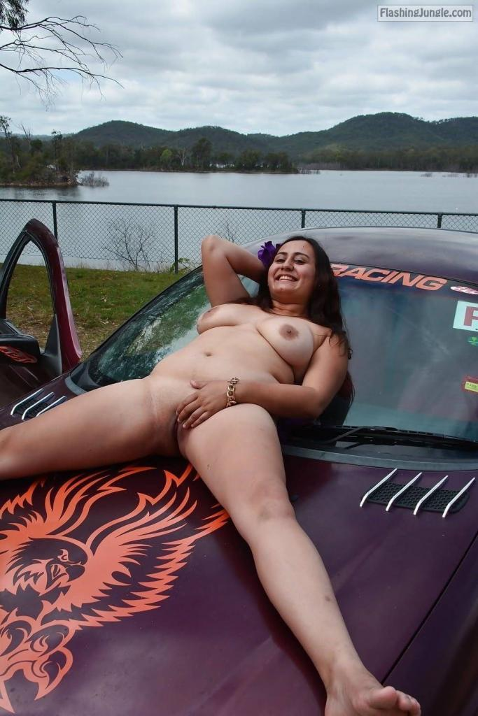 Nude Slut on Car Bonnet Valeria Mcdougall real nudity public nudity milf pics