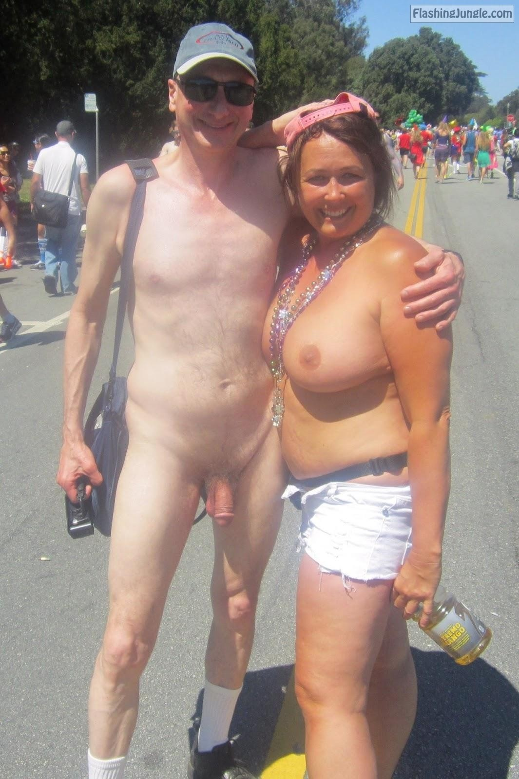 Topless Girl Public Nudity Exhibitionist Brucie Bay to Breakers Flashers