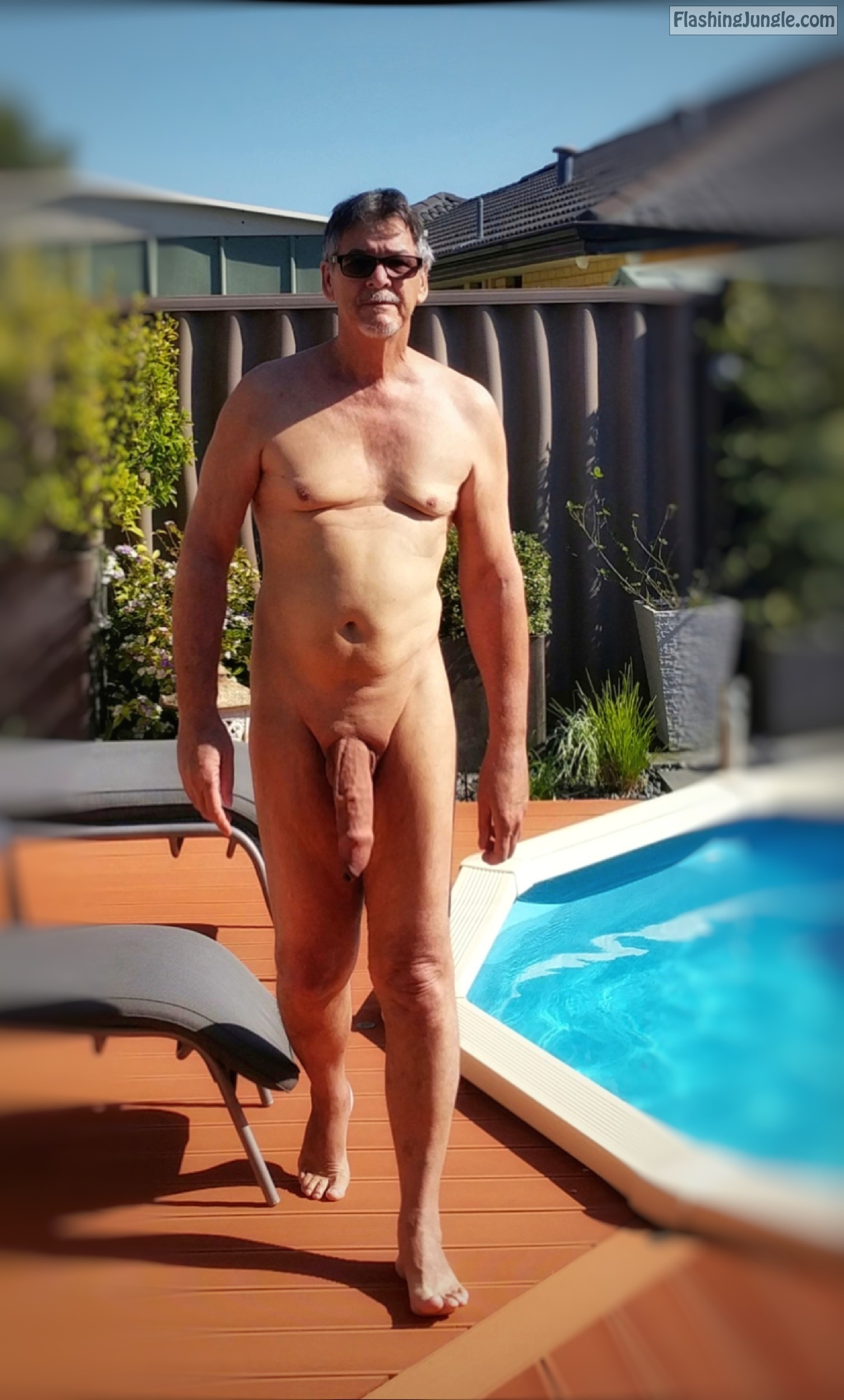 Backyard massive cock nude walk by the swimming pool - True <strong>nudist</strong> 8