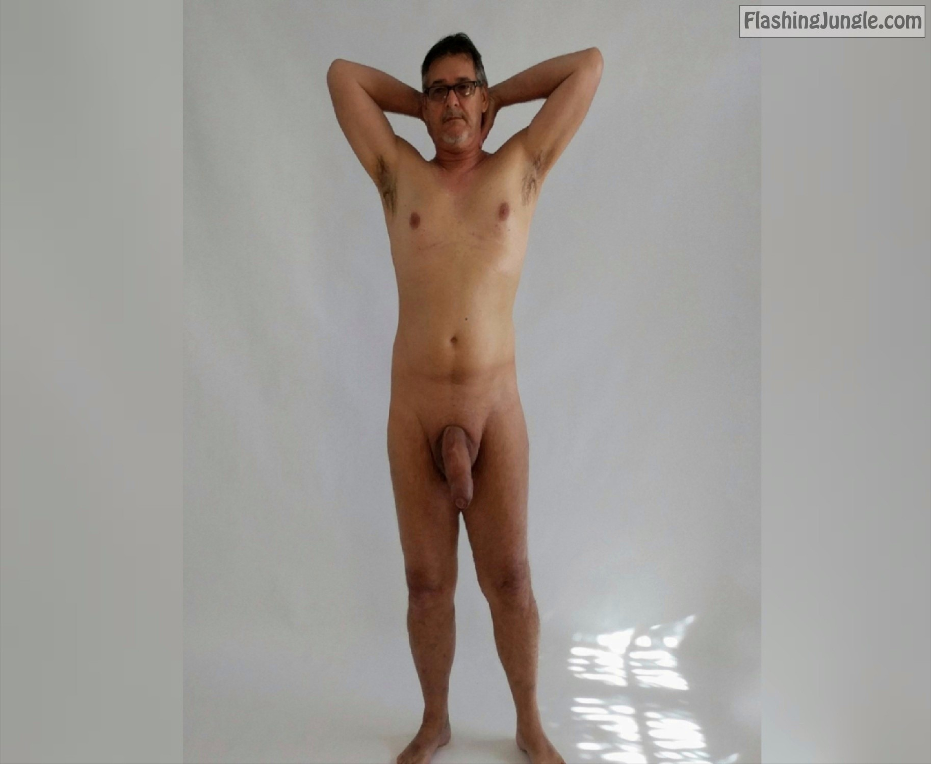 True <strong>nudist</strong> naked posing and showing off massive dick