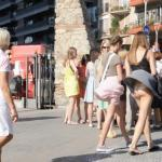 Curvy redhead naked on pedestrian zone