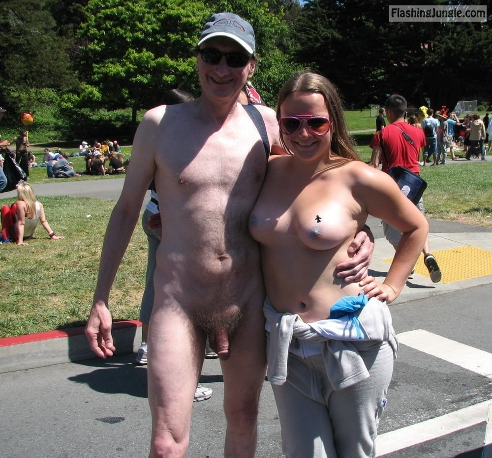Topless Girl Exhibitionist Brucie Public Nudity | CFNM | Bay to Breakers nudists
