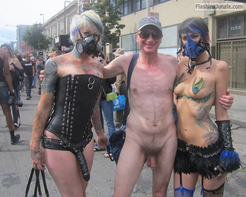 Naked Folsom Street Fair, Exhibitionist Brucie CFNM BDSM public nudity
