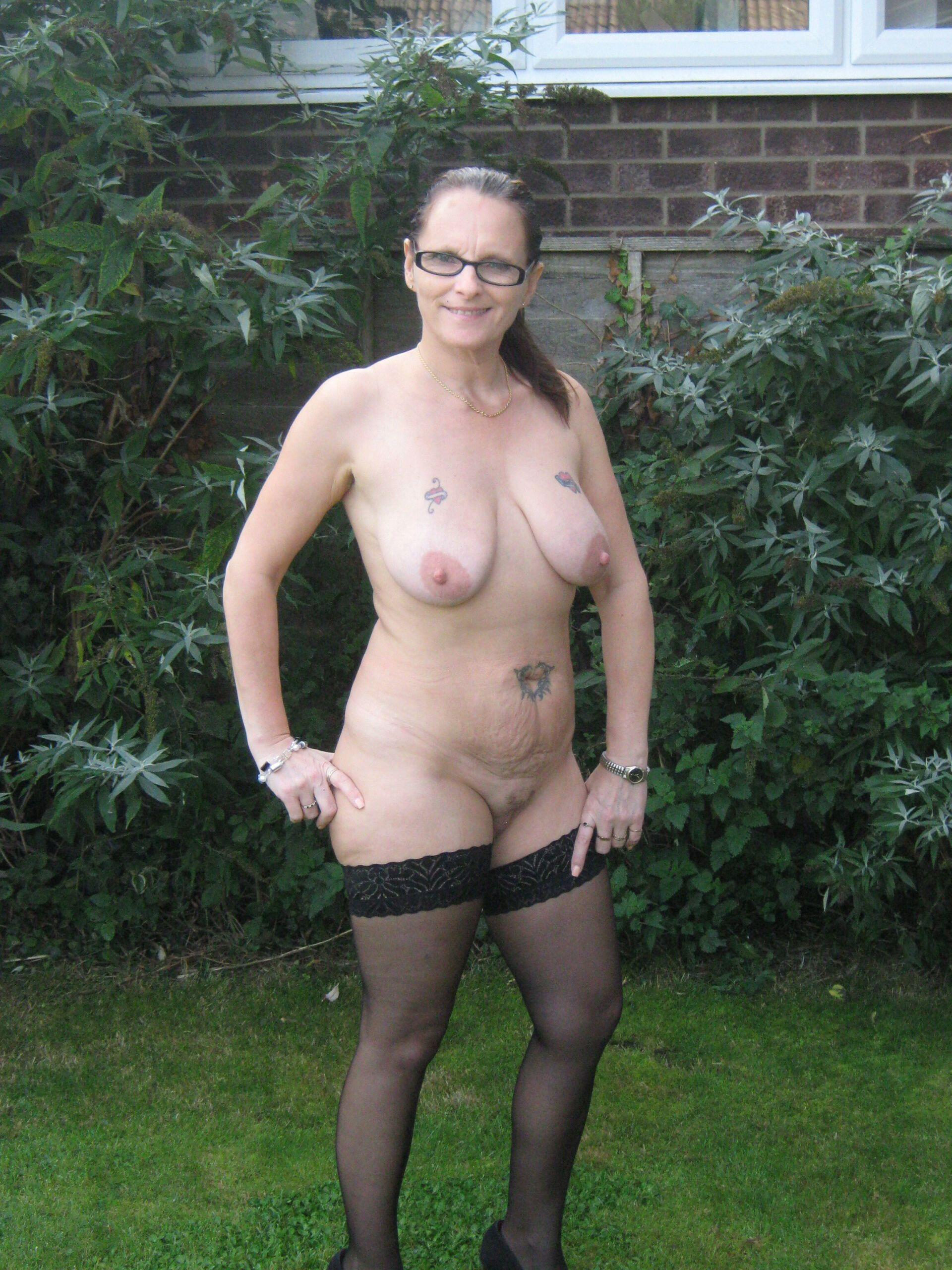 Nude Mature slut showing off in the garden real nudity public nudity no panties mature howife