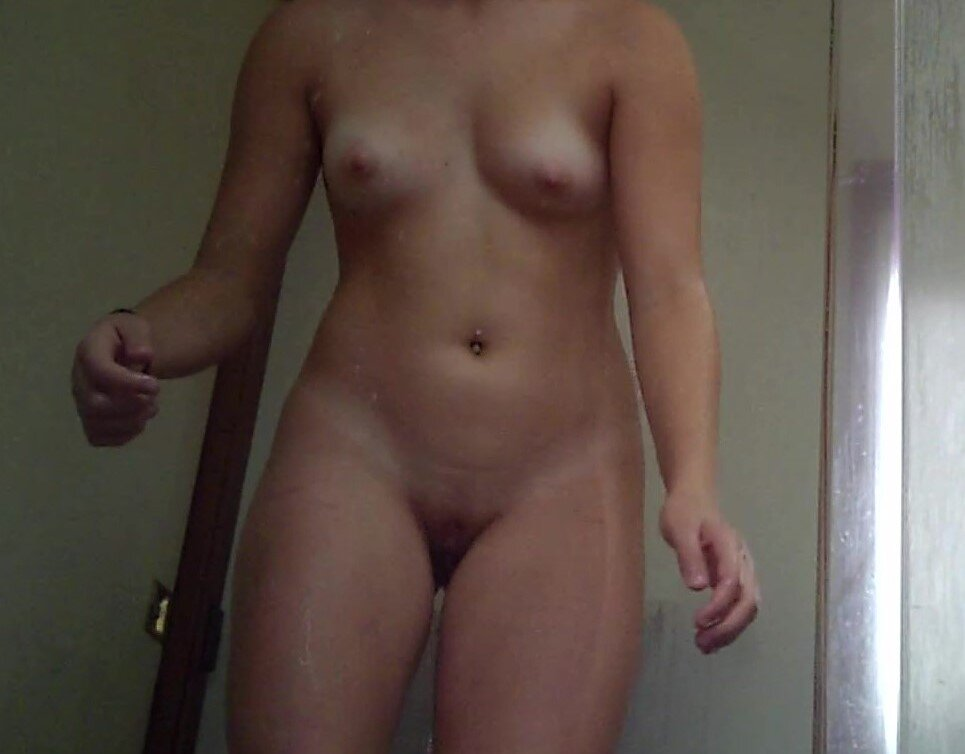 Nude brunette showering real nudity