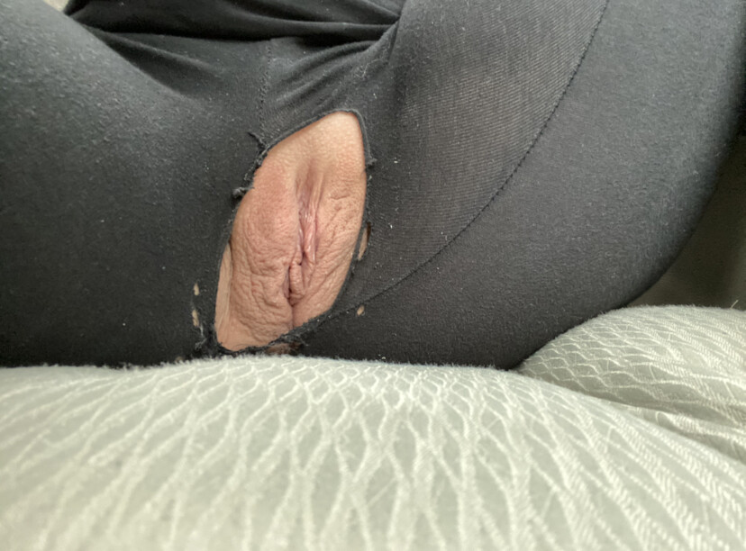 Pussy exposed through ripped off pants real nudity pussy flash no panties